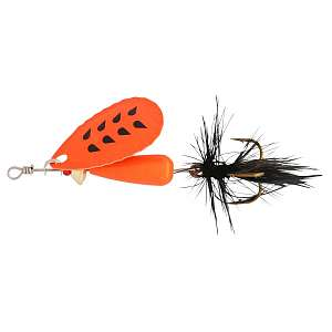 Блесна вращающаяся Abu Garcia Droppen FLUO Orange FL/OR 8гр., FL/OR BLACK FEATHER